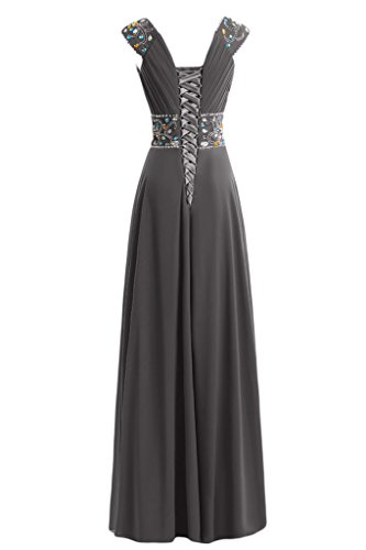 sera Neckline V con da Capsleeves Green vestito Line A Gowns Sunvary 7qxYOO