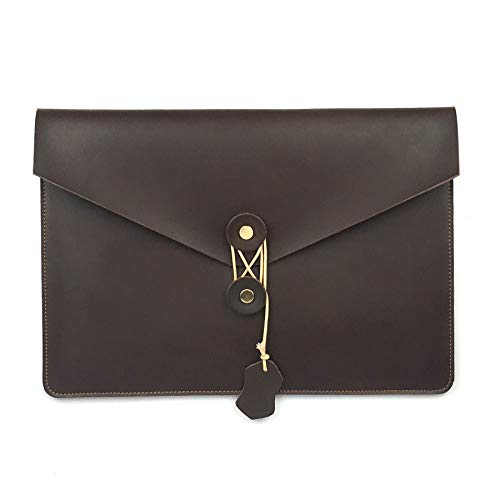 Heiye Leather Envelope Folder Case Portfolio Mens Clutch Portfolio Sleeve Case for Retina Pro 15.4 inch,Apple Ipad Padfolio File Folder A4 Document Organizer Brown (15.4 inch Retina Pro)