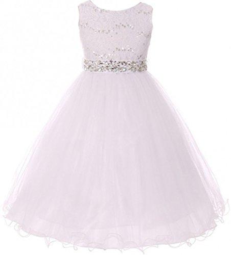 Big Girls Sleeveless Sequins Rhinestones Tulle Pageant Flower Girl Dress White 14 (M3B4K0)