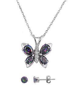 Sterling Silver MYSTIC SIMULATED RAINBOW TOPAZ BUTTERFLY PENDANT w/ Earring Combo Set