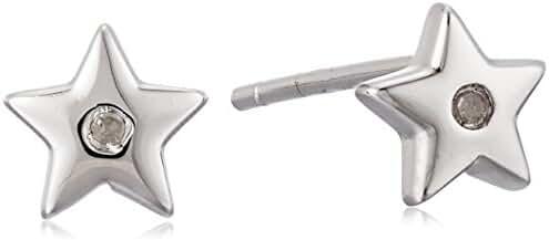 Sterling Silver Small Star Diamond Stud Earrings