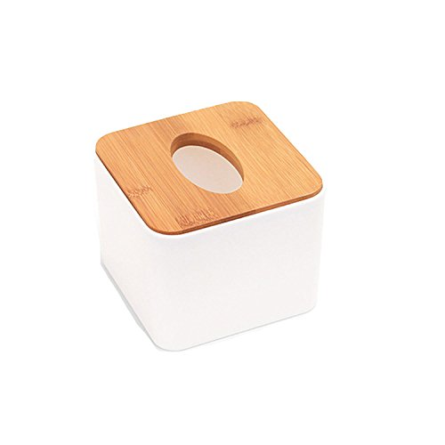 Collocation-Online Sturdy Plastic Napkin Tissue Storage Box Wood Cover Toilet Roll Paper Organizer for Living Room,B ()