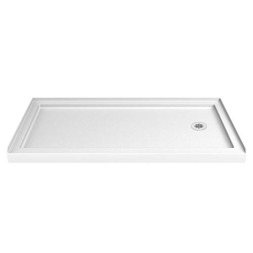 (DreamLine SlimLine 32 in. D x 60 in. W x 2 3/4 in. H Right Drain Single Threshold Shower Base in White, DLT-1132602)
