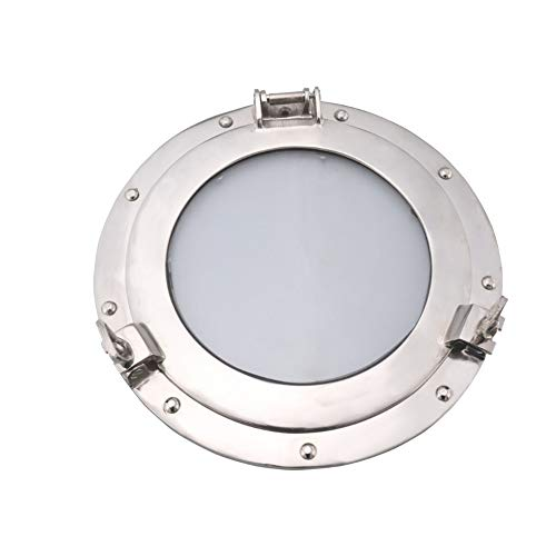 Benzara Nautical Inspired Studded Porthole in Metal and Glass Gray, 11