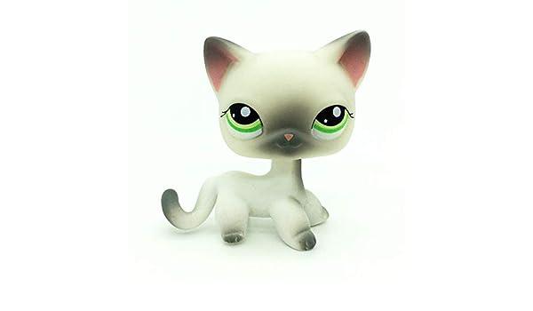 New Rare Littlest Pet Shop Pink White Short Hair Cat Kitty Blue Eyes LPS#64