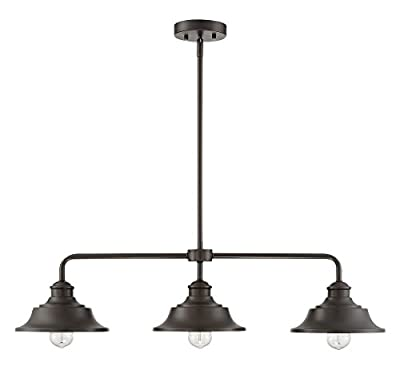 Trade Winds Lighting TW10049ORB 3-Light Vintage Industrial Retro Kitchen Island Counter Pendant with Metal Shades, 100 Watts, in Oil Rubbed Bronze