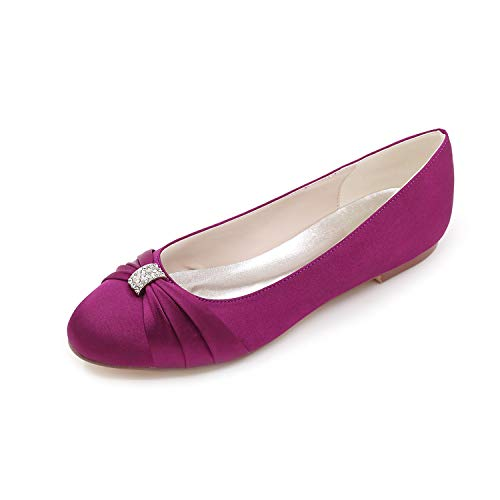 LLBubble Women Flat Low Cut Satin Wedding Shoes Round Toe Ballet Bridal Formal Party Dress Shoes-Purple 1-10.5 ()