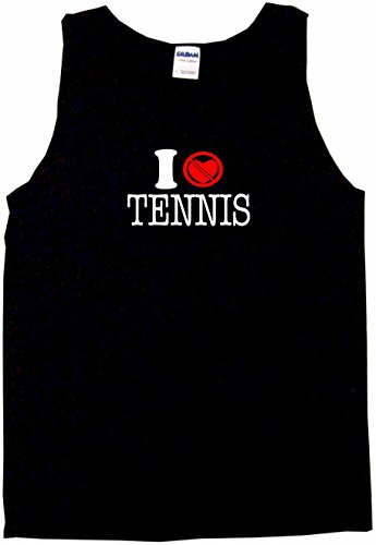 I Don't Like Heart Crossed Out Tennis Men's Tee Shirt Small-Black Tank Top