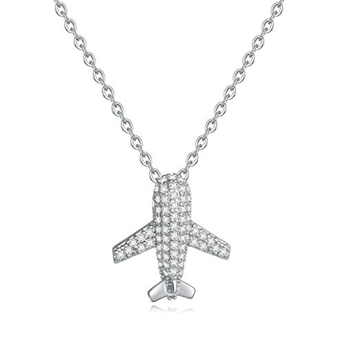 Turandoss Airplane Necklace for Women Gifts - White Gold Plated CZ Airplane Pendant Dainty Inspirational Airplane Necklace for Women Girls, Dainty Necklace Inspirational Gifts for Her