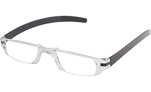Fisherman Eyewear Slim Vision Rimless Reading Glasses, Shiny Black (+2.00)
