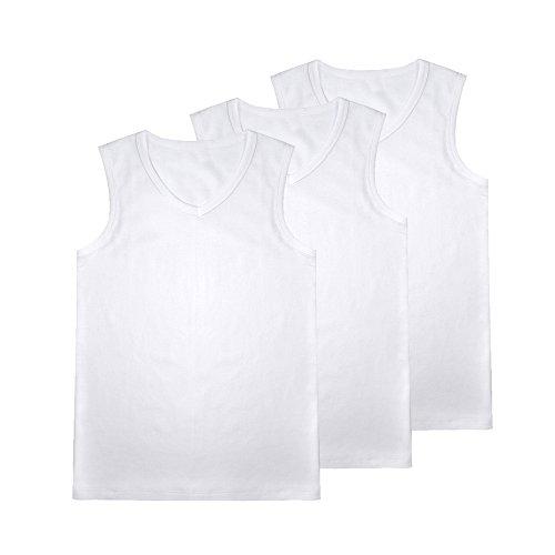 JISEN Men's V Neck Sleeveless Elastic Modal Cotton Tank Tops Sports T-Shirt 3 Pack White by JISEN