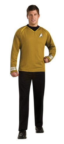 Rubie's Star Trek Into Darkness Grand Heritage Captain Kirk Shirt With Emblem, Gold/Black, Large Costume