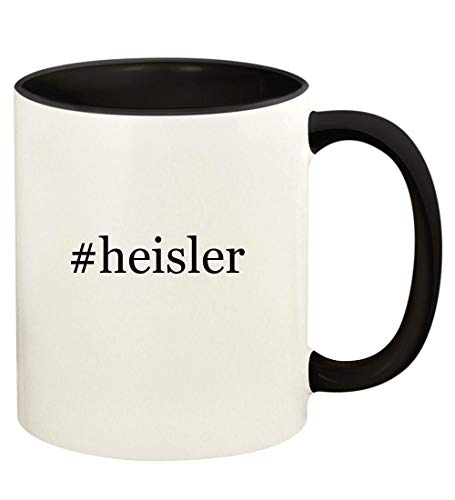 - #heisler - 11oz Hashtag Ceramic Colored Handle and Inside Coffee Mug Cup, Black