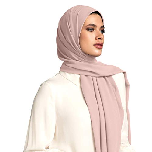 Voile Chic Pink Taupe Premium Chiffon Wrap Head Scarf ()