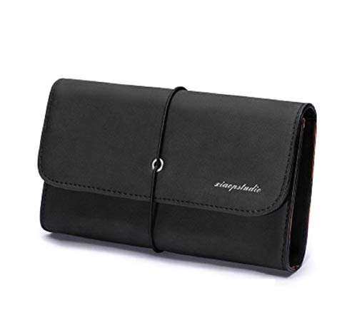 Fuxitoggo Multifunction Business Small color Leather Black Men's Bags Weave Clutch Fashionable Waterproof Black Bag Phone gRgqwr5