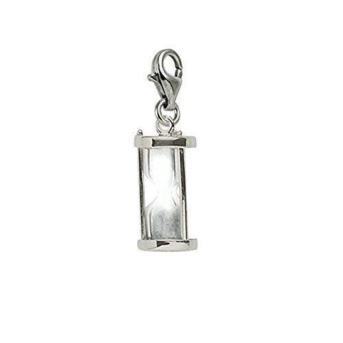(Sterling Silver Hourglass Charm With Lobster Claw Clasp, Charms for Bracelets and Necklaces)