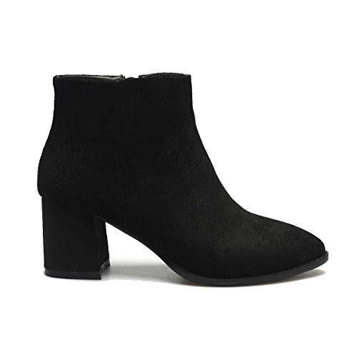 Genuine Heel Ankle Almond Elegant Cosw Women's Verocara Leather Boots Style Mid C black Chunky Toe Suede Cwx8xqtn