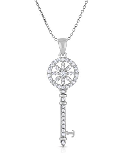 Sterling Silver Cubic Zirconia Key Pendant Necklace, 18