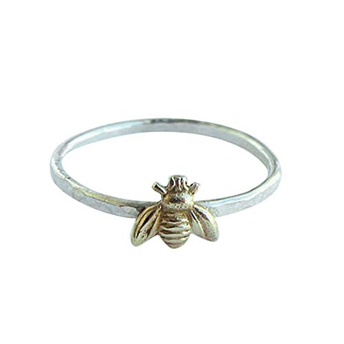 Tiny Solid Sterling Silver Bee Ring Gold Hammered Band Stacking Rings ()