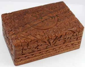 "Om Wood Carved Box 4"" X 6"""