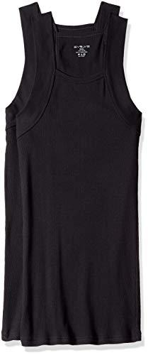 EVOLVE Men's Cotton Comfort Square Cut Tank Multi Pack, Black, X-Large (G Underwear)