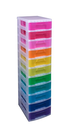 Really Useful Storage Tower 11x7 Litre Drawers Clear/Rainbow Ref DT1002