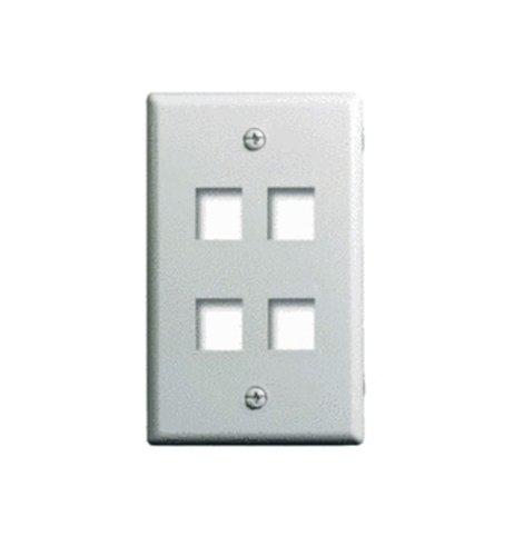 Legrand - On-Q WP3404WH Single Gang, 4 Port Keystone Wall Plate, White (Steel Wall Professional Plate)