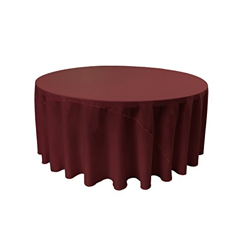 LA Linen Polyester Poplin Round Tablecloth, 132-Inch, Burgundy