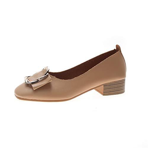 Printemps Carrée Boucle Casual Mode Clair De Chaussures Sauvage Mocassins Talon Marron Tête Simples Féminine Scoop Épais 4wdqxTR