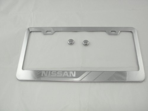 (Nissan Chrome License Plate Frame with Caps )