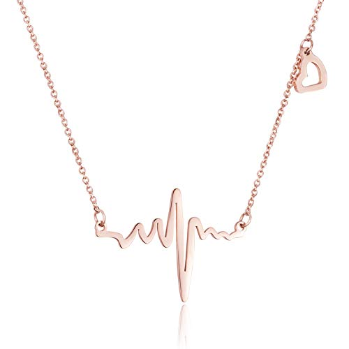WDSHOW Love Heart Beat Pendant Necklace 18K Rose Gold Plated Stainless Steel