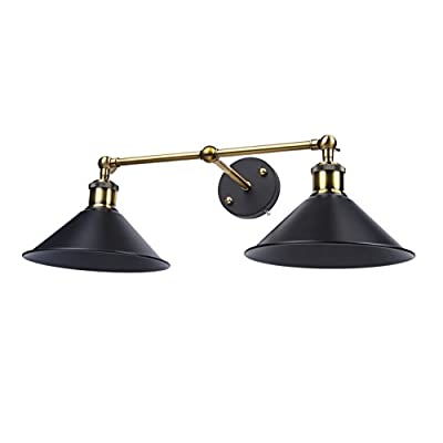 Lightess Industrial Black Edison Wall Sconce with 2 Light