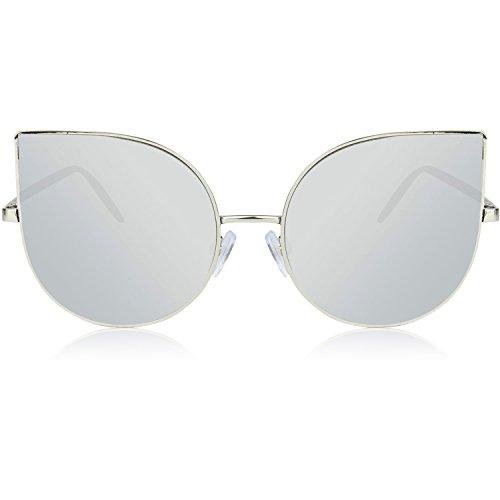 Gafas Women Plateado de Sunglasses Light Metal C1 Frame de Thin Ultra Ojos gato sol SJ1022 Flat SOJOS Lenses Mujer xFIU6R