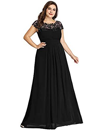 Ever-Pretty Women's Plus Size Lace Cap Sleeve Long Formal