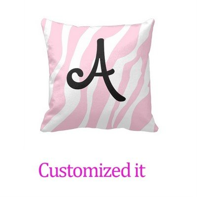 Custom it for you Monogramed Pillowcase Pink Stripes and Monograms Throw Pillow Cover 18