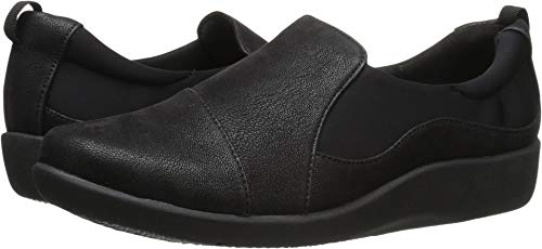 Clarks Women's CloudSteppers Sillian Paz Slip-On Loafer, Black Synthetic Nubuck, 7.5 M US