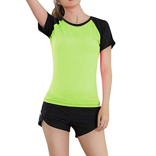 Aunimeifly Women's Casual Yoga Sport Tight Quick Drying Elasticity Blouse Athletic Tops Gym T-Shirt ()