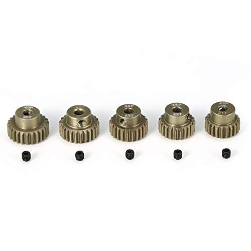 Surpass-hobby 48DP 5Pcs 3.175mm 21T 22T 23T 24T 25T Metal Pinion Motor Gear Combo Set for 1/10 RC Car Brushed Brushless Motor❤️ ()