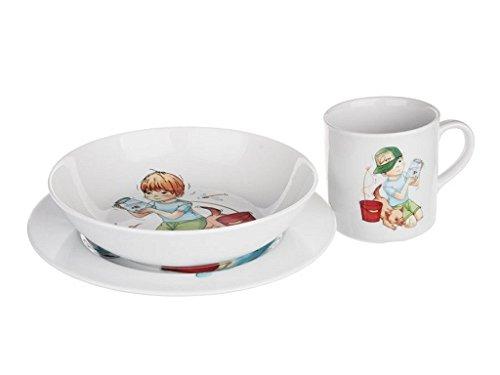 Geschirr, Besteck & Gläser Kindergeschirr Junge Porzellan 3tlg Teller Schale Tasse Frühstücksset Made EU