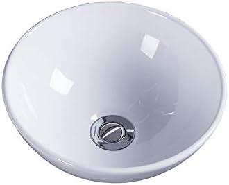 洗面ボウル 現代のラウンドバニティカウンターシンクボウルバスルームの容器シンク 浴室の台所の流し (Color : White, Size : 40x40x15cm)