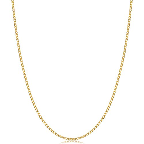 Kooljewelry Solid 14k Yellow Gold Flat Double Wheat Chain Necklace (1.1 mm, 16 ()