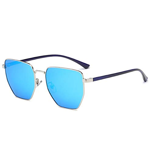 Hommes Lunettes Bleu Bleu Lunettes de Unisexe Protection Style Soleil Dames de Classiques polygonales Couleur de Maybesky Soleil vZqYY