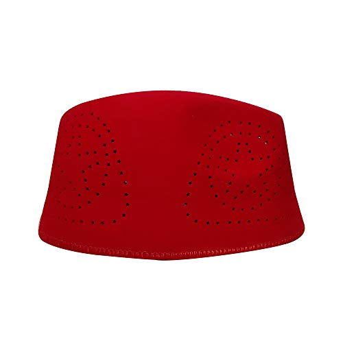 (TheKufi Red Fez African Hat Rigid Wool Felt Concaved Oval Kufi (XL))