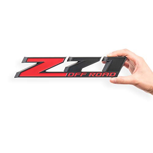 Chevy Z71 Decals - 2Pack Z71 Emblem Z71 OFF ROAD Decal Badge for Chevy Silverado Colorado GMC Sierra (Red+Matte Black)