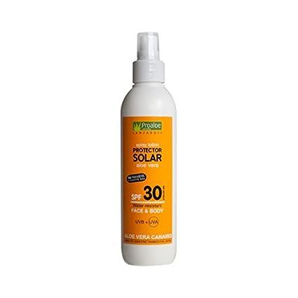 Protector Solar con Aloe Vera y Açaí en Spray. SPF 30. Protección Solar para Cara y ...
