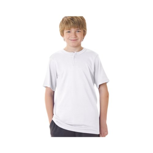 Badger Youth Solid Placket Henley Tee, Style #2927, L, Black