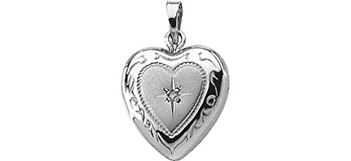 Sterling Silver Diamond Heart Locket (GI Color, I3 Clarity) by The Men's Jewelry Store (for HER)