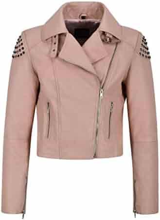 efb19c812e9 Ladies Skull Studded Leather Jacket Pink Back Studed Biker Real Soft NAPA  2740