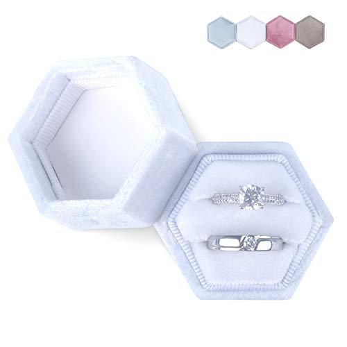 DesignSter Hexagon Velvet Ring Bearer Box - Premium Gorgeous Vintage Double Ring Display Holder with Detachable Lid for Proposal, Engagement, Wedding, Ceremony (White)
