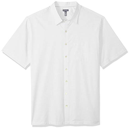 Van Heusen Men's Big and Tall Air Short Sleeve Button Down Solid Shirt, Bright White, 4X-Large Big